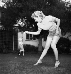 MM plays with her Chihuahua on May 17, 1950. Image: Earl Leaf