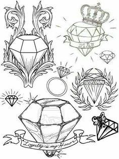 Diamond Tattoo Designs, Design Tattoo, Tattoo Design Drawings, Tattoo Sketches, Tattoo Flash Art, Tatoo Art, Body Art Tattoos, Stencils Tatuagem, Tattoo Stencils