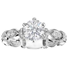 Engagement Ring - Round Diamond Engagement Ring, 0.25 tcw. In 14K White Gold - ES769BR ($1,281) found on Polyvore