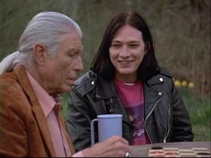 """Ed with an elder who speaks Tlingit. The man is an actor and Ed wants to dub a movie in Tlingit. From """"Sleeping with the Enemy"""" Billy Drago, Northern Exposure, Tlingit, Breaking Bad, The Man, Alaska, Dreaming Of You, Tv Series, Actors"""