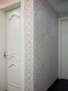 The Moroccan Key Stencil makes a gorgeous design splash on these walls by David Hsueh. Love how the stencil wraps around the corner, too! | Royal Design Studio
