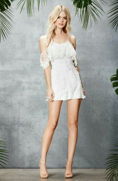 """""""Rompers"""" ~~Rosario Contreras~~ Lace Romper, Lace Dress, White Dress, Honeymoon Style, Dress The Population, Feminine Dress, Beautiful Legs, Sexy Legs, Cold Shoulder Dress"""