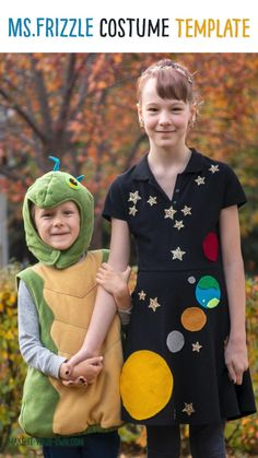 We provide you with these free, printable space templates to make a MS. FRIZZLE'S SPACE DRESS for a Halloween Costume or a Book Character Day! #halloween #halloweencostume #bookcharacterday #msfrizzle #msfrizzlecostume #magicschoolbus #magicschoolbuscostume #printablehalloween #costumetemplate #costumepatter #kidscosutme #kidshalloweencostume #diycostume #homemadecostume #spacecostume Teacher Halloween Costumes, Halloween Crafts For Kids, Easy Crafts For Kids, Halloween Diy, Kid Crafts, Creative Activities For Kids, Creative Arts And Crafts, Creative Kids, Space Costumes