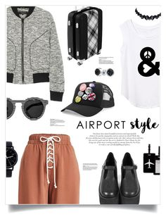 """""""Jet Set: Airport Style"""" by nosleeptilbrooklyn ❤ liked on Polyvore featuring Roberto Cavalli, rag & bone, Illesteva, TravelSmith, Dsquared2, Bling Jewelry, Puma, contestentry and airportstyle"""
