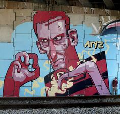 via Aryz, graffiti artist from Barcelona Murals Street Art, Graffiti Art, Mural Art, Wall Murals, Amazing Street Art, Fantastic Art, L'art Du Portrait, Stencil, Art Rules
