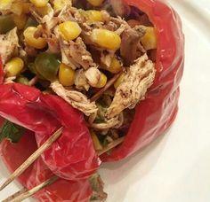 Ají Morrón relleno de pechuga de pollo y vegetales | Morrón pepper stuffed chicken breast and vegetables.