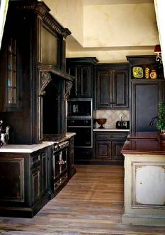 Classic Kitchen Decorating Idea with Shabby Chic Wood Cabinets in Dark Teak Finish and White and Brown Wood Countertops also Rustic Backsplash Tile and Hardwood Flooring