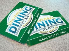 Universal Dining Plan Quick Service cards, allowing you to save money on food within the Universal Orlando Parks