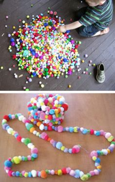 pom pom garland DIY - for the kids' trees