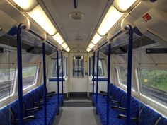 Interior of car showing refurbishment of Northern line stock.