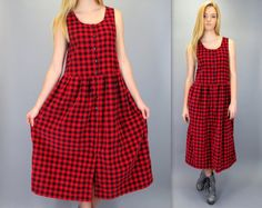 Vintage 90s Oversized Red Black Buffalo Plaid Checkered Super Soft Fine Wale Coduroy Button Front Sleeveless Babydoll Midi Dress Gunge by BlueFridayVintage