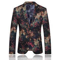 Quality Mens Vintage Floral Print Tuxedo Dress Suit Blazer Masculino for Party Wedding 2015 Fashion Flower Veste Costume Homme
