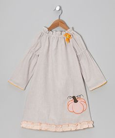 Take a look at this Gray & Orange Pumpkin Peasant Dress - Infant, Toddler & Girls on zulily today!
