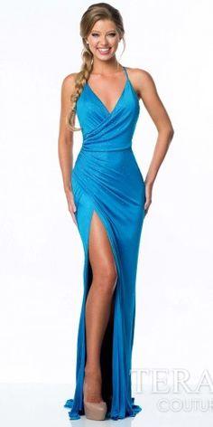 Terani Couture Jersey Chiffon Wrap Prom Dress