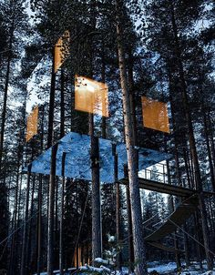 Harads is a tree hotel concept inverted by Swedish architects Tham & Videgard Hansson.  The tree hotel with a small kitchen, terrace, living area and sleeping area is good enough to spend a small, or even an extended vacation, away from the hustle and bustle of crowded city life.