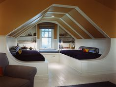 Using the slanted ceiling to create a dramatic visual