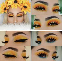 Pin on Mis 16 sara Makeup Eye Looks, Eye Makeup Art, Cute Makeup, Glam Makeup, Skin Makeup, Eyeshadow Makeup, Nyx Lipstick, Beauty Makeup, Yellow Makeup