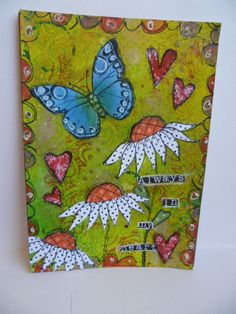 Stampotique sunflowers with Hero Arts Butterfly