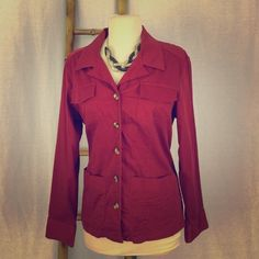 Large - Van Heusen Jacket Size large. Stretch. Color is deep maroon red. 97% cotton. 3% spandex. Machine wash will. Spot on right coat pocket as shown in picture. No defects. Buttons are secure. No odors Van Heusen Jackets & Coats