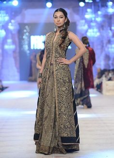 Sana Safinaz - PFDC L`Oreal Paris Bridal Week 2014: Love the long embroidered jacket with the skirt.
