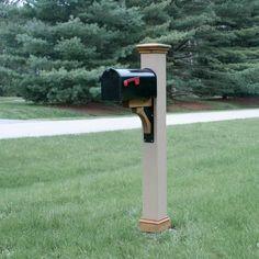 Texture Mailbox Post Sleeve With Cedar Trim And Metal Bracket