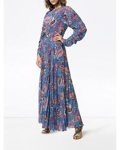 ~ NWT ETRO FLORAL PRINT PLEATED FLOOR LENGTH DRESS (THIS IS STUNNING!) ~ 36 #ETRO #Floorlength