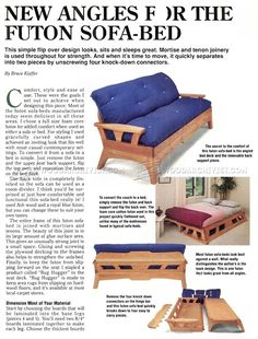 #2831 Futon Sofa Bed Plans - Furniture Plans