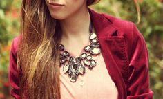 Ribbon bib necklaces.