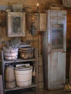 Primitive wood bucket, cupboard and candle holders. Sweet Liberty Homestead by S. - Primitive wood bucket, cupboard and candle holders. Sweet Liberty Homestead by S… Primitive woo - Primitive Bathrooms, Primitive Homes, Primitive Antiques, Primitive Crafts, Country Primitive, Primitive Christmas, Country Christmas, Country Farmhouse, Christmas Decor