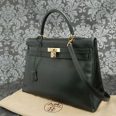20771e22f8c Rise-on HERMES Kelly 35 Box Calf Leather Dark Green Handbag Shoulder Bag   137