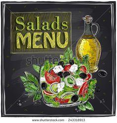 Salads menu chalkboard  design with Greek salad. - stock vector
