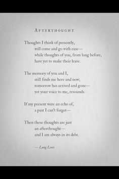 Afterthought by lang leav