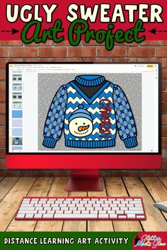 Need easy ugly sweater Christmas art lessons for kids for both in-person & distance learning? Design your own using festive holiday graphics! Teach Google Slides using basic computer skills. Winter-themed graphics like mittens, snowman, & snowflakes included for kids who don't celebrate. Use this art project to discuss contrast & overlapping. Incorporate literacy into your lessons with the included writing prompts! Perfect for 1st grade through 5th grade elementary students. | Glitter Meets… Christmas Art Projects, Christmas Arts And Crafts, Ugly Sweater, Ugly Christmas Sweater, Art Lessons For Kids, Winter Theme, Holiday Festival, Art Activities, Elementary Art