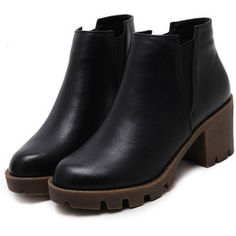 SheIn(sheinside) Black Distressed PU Elastic Chunky Heel Ankle Boots