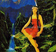 Indian Maiden Yellow Bird Waterfall By Ingerle 1920s Roaring Twenties Native American Pinup Girl
