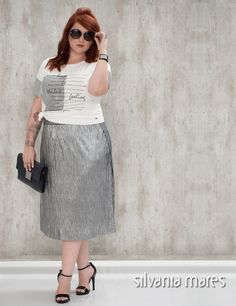 045ba741a Blog. Saia plissada metalizada plus size. Silvania Mares - Moda ...