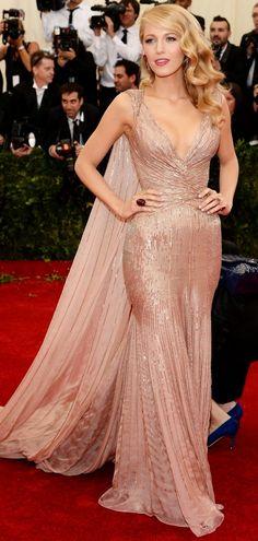 Blake Lively in a custom Gucci Premiere silk blush gown