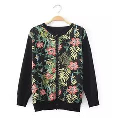 Floral Print Cotton Knited Long Sleeve Fashionable Women's Cardigan