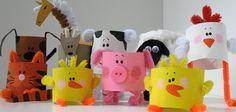 Animales de granja con tubos de papel higiénico #manualidades