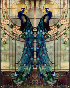 Art deco stained glass window peacock by Belleatelier Art Nouveau, Art Deco, Stained Glass Patterns, Stained Glass Art, Stained Glass Windows, Stained Glass Tattoo, Stained Glass Designs, Mosaic Art, Mosaic Glass