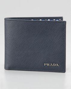 8c0185b684fc Prada Saffiano Bifold Wallet, Blue New Man Clothing, Prada Wallet, Prada  Saffiano,