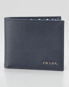 5df20ee53835 Prada Saffiano Bifold Wallet, Blue New Man Clothing, Prada Wallet, Prada  Saffiano,