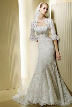 Mermaid Style Strapless Chapel Train Lace Vintage Wedding Dress With Jacket