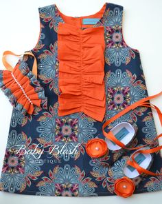 Navy Blue Orange A-line Dress Shoes Headband Set Infant Outfit Baby Shoes on Etsy, $65.00