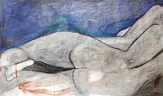 "Blue Figure   $7,000.  varnish, pigment on Shoji screen  48""x84"""