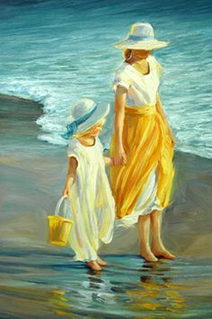 Beach Series - Mother & Daughter III September McGee (love the color yellow)