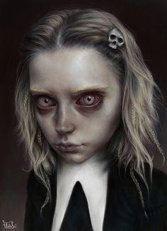Intense Expressions and Large Eyed Digital Art Portraits. To see more art and information about Elena Sai click the image. Arte Horror, Horror Art, Bizarre Art, Creepy Art, Creepy Kids, Creepy Children, Art Sinistre, Gothic Artwork, Illustration Art