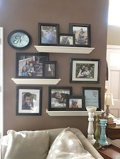 Floating shelves picture display on small wall. I like the white shelves, black frames and dark wall, House Design, Room, Home Projects, Interior, Living Room Decor, Home Decor, Home Deco, Home Diy, Home Decor Outlet