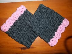 Women's Boot Cuffs Gray & Pink Handmade Acrylic