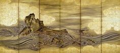 """Attributed to Hasegawa Tōgaku, """"Waves and Rocks,"""" Momoyama period, early 17th century. One of a pair of six-panel folding screens: ink and gold on paper with sections covered with gold foil. Private Collection"""